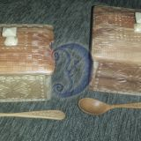 dėžutės biriems produktams su šaukštelia