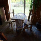 Kėdės su stalu, ąžuolas.