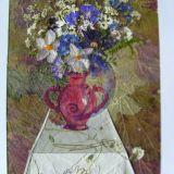 paveikslas iš džiovintų lapų ir gėlių
