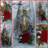 Saldainiais dekoruotas butelis