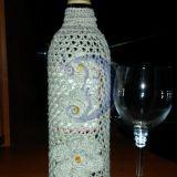 Vyno butelio Lininis papuošimas