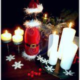 Kalėdinis butelio papuošimas