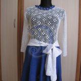 Balta/melyna ranku darbo suknele