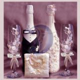 Dekoruoti sampano buteliai vestuvems