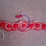 Raudona - sidabrinė apyrankė ir auskarai
