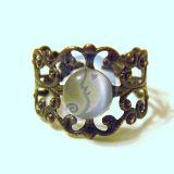 Žiedas Vario sp. ažūrinis su katės akimi