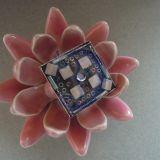 Rožinės mozaikos žiedas