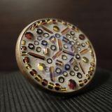 Žalvario žiedas su ruda mozaika
