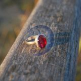 Sidabrinis ziedelis su rubinu