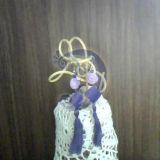 violetiniai auskarai