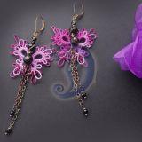 Frivolite drugeliai auskarai
