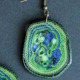Auskarai žali, masyvūs, mėlyni Nr.756