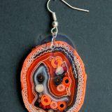 Auskarai oranžiniai, iš tekstilės Nr.18