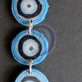 Auskarai mėlyni, ilgi tekstilės Nr. 263